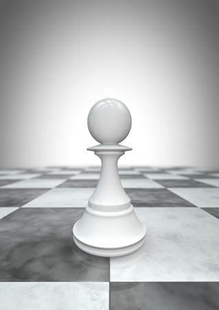 chess piece: Big pawn white  3D render of white pawn chess piece Stock Photo