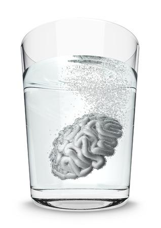 seltzer: Brain seltzer  3D render of brain fizzing in glass of water Stock Photo