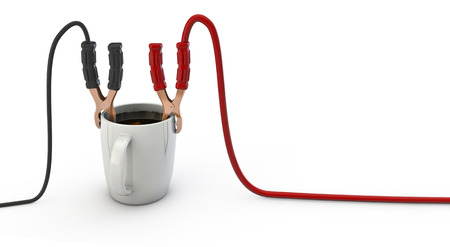 energize: Energize your day  3D render of jumper cables clamped to cup of coffee Stock Photo