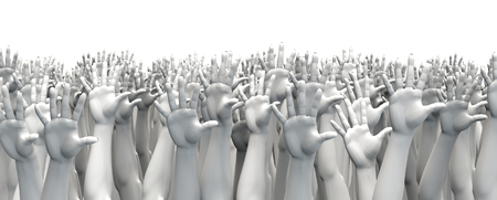 opgeheven handen: Raise your hands  3D render of crowd of raised hands Stockfoto