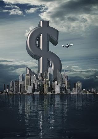 dollar symbol: Business city dollar  3D render of dollar symbol rising from modern city Stock Photo