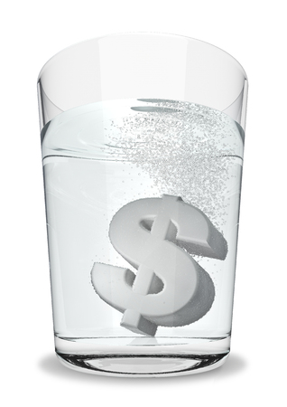 seltzer: Dollar seltzer  3D render of dollar symbol fizzing in glass of water