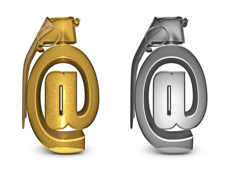 webmail: Email grenade in gold and silver  3D render of email grenade Stock Photo