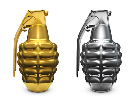 handgrenade: Gold and silver grenade  3D render of grenades made of gold and silver