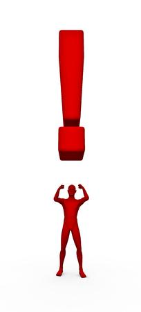 point exclamation: Exclamation homme de rendu 3D de la figure et de point d'exclamation hommes en colère