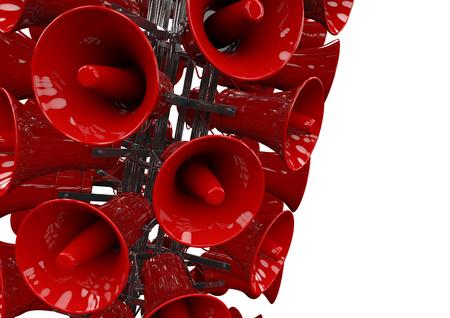 큰 소리로 3D 밝은 빨간색 스피커의 타워의 렌더링이 있으라 스톡 콘텐츠