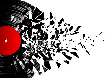Vinyl shatter  3D render of shattering vinyl record, easy to colorize Archivio Fotografico