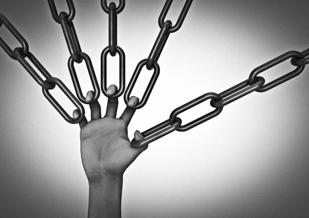 Hand link pull  3D render of hand holding chains Фото со стока