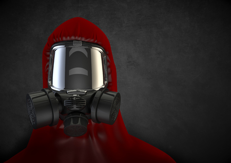 hazmat: Toxic environment  3D render of ominous figure in hazmat gear