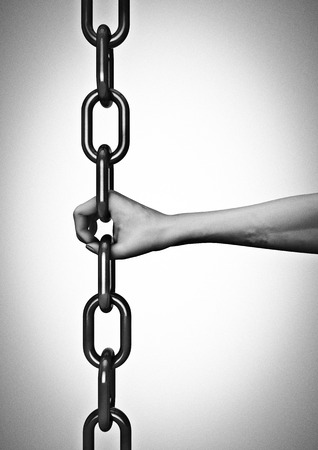 link: Hand chain link connection  3D render of hand as link in chain