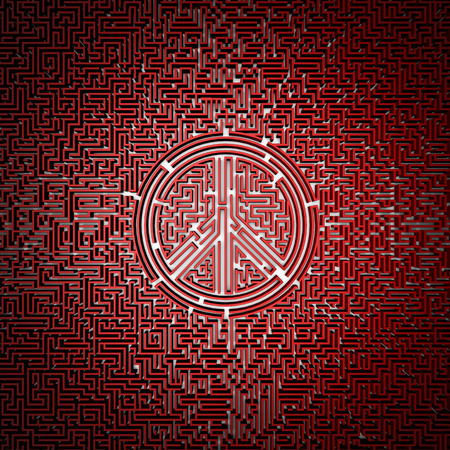 complex navigation: Ultimate peace maze  3D render of giant maze with peace symbol in center