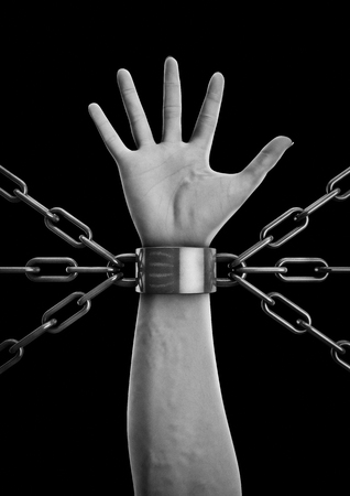 shackled: Shackled  3D render of shackled hand with multiple chains