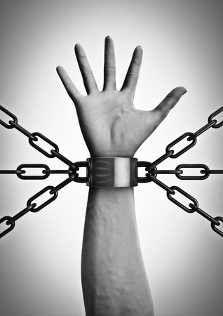 captivity: Shackled  3D render of shackled hand with multiple chains