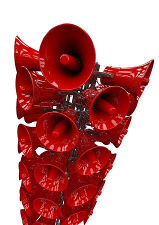 amplification: Let there be loud  3D render of a tower of bright red loudspeakers