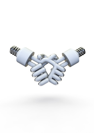 kilowatt: Energy bulb handshake  3D render of energy bulbs shaking hands
