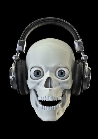 음악은 죽은 3D 헤드폰에 음악을들을 때 깨어 난 두개골의 렌더링 깨워하기 스톡 콘텐츠