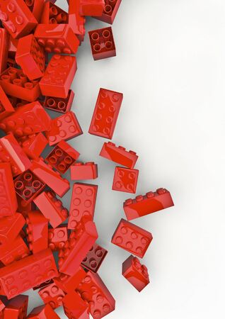 red building blocks: Toy building blocks  3D render of plastic toy building blocks Stock Photo