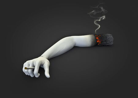 lifespan: Cigarette arm  3D render of smokers arm as cigarette