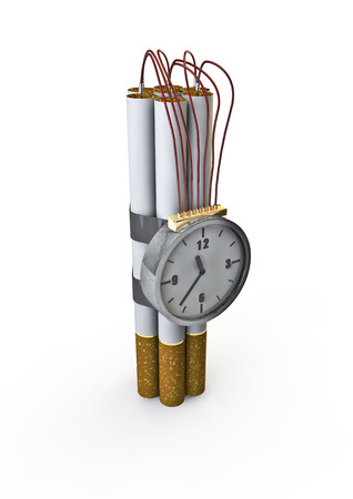 clock hand: Cigarette bomb  3D render of bomb made from cigarettes