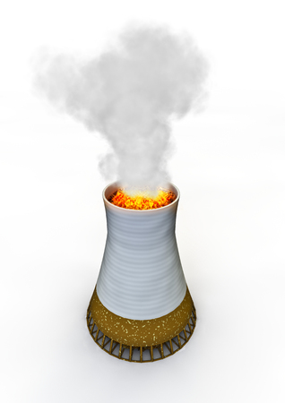 cooling tower: Cigarette power plant  3D render of cigarette as nuclear power plant cooling tower Stock Photo
