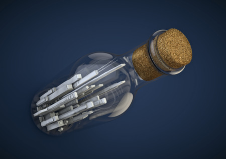 corked: City in a bottle  3D render of tiny modern city inside corked bottle