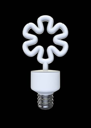 flower bulb: Flower energy bulb  3D render of shaped energy bulb