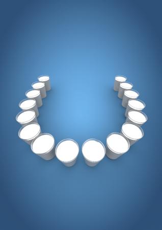 dientes sanos: dientes de leche de vidrio 3d rinden de vasos de leche como fila de dientes Foto de archivo