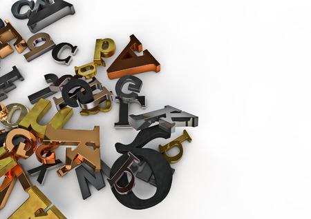 metal letters: Metallic letters  3D render of varied metal letters Stock Photo