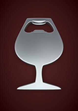 bottle opener: Wine glass bottle opener  3D render of wine glass shaped bottle opener