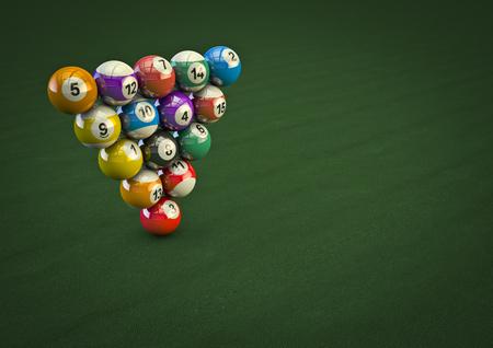 bola de billar: Imposible truco bola de billar en 3D render de bolas de billar en la formación imposible Foto de archivo
