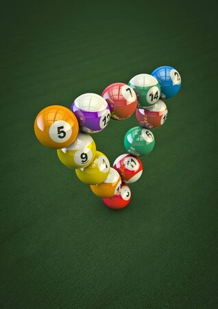 bola de billar: Impossible pool ball trick  3D render of pool balls in impossible formation