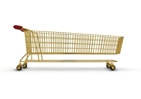 shopping trolley: Extra large golden shopping trolley  3D render of super sized shopping trolley