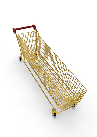 extra large: Extra large golden shopping trolley  3D render of super sized shopping trolley