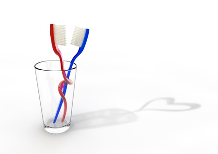 entangled: Toothbrush love  3D render of entangled toothbrush couple