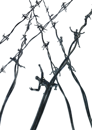 barbs: Human barbed wire  3D render of barbed wire with human figures for barbs