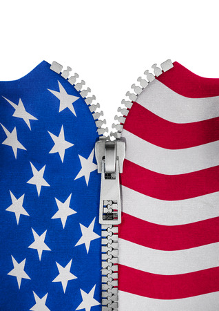 unzip: Zippered USA flag  3D render of American flag split with zipper Stock Photo