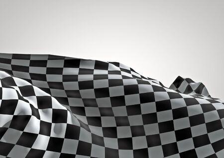 checker flag: Checkered flag  3D render of waving checkered flag Stock Photo