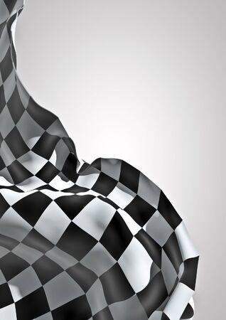체크 무늬 깃발 흔들며 체크 무늬 깃발의 3D 렌더링