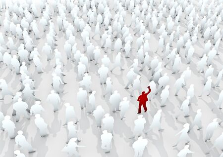stand out: Stand out from the crowd  3D render white pedestrian crowd with red individuals Stock Photo