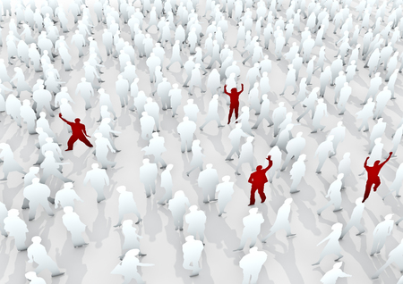individuals: Stand out from the crowd  3D render white pedestrian crowd with red individuals Stock Photo