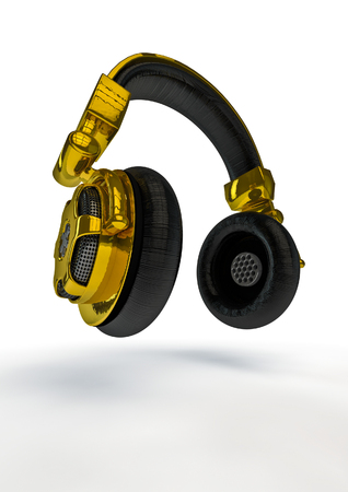 decibel: Gold headphones  3D render of golden headphones