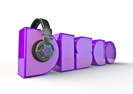 decibel: Disco title with headphones  3D render of text with headphones Stock Photo