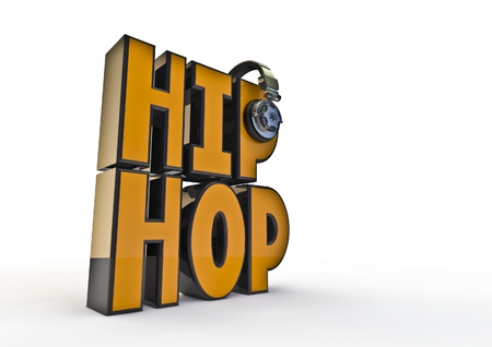 hip hop: Hip-hop title with headphones  3D render of text with headphones Stock Photo