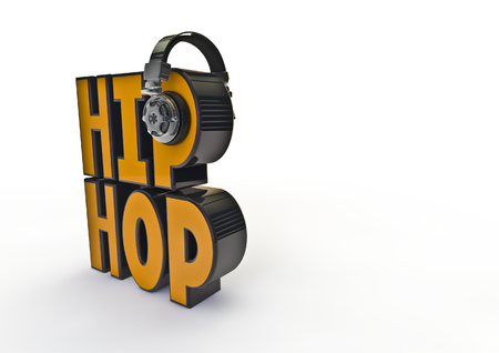 decibel: Hip-hop title with headphones  3D render of text with headphones Stock Photo