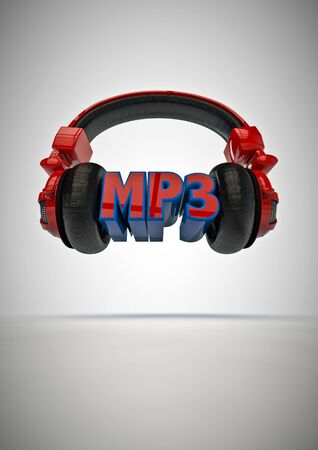 loudness: MP3 title with headphones  3D render of text with headphones Stock Photo