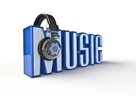loudness: Music title with headphones  3D render of text with headphone