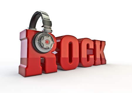 decibel: Rock title with headphones  3D render of text with headphones