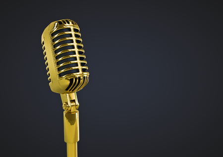 remix: Retro gold microphone  3D render of old fashioned classic microphone