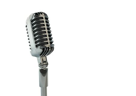 remix: Retro microphone  3D render of old fashioned classic microphone Stock Photo