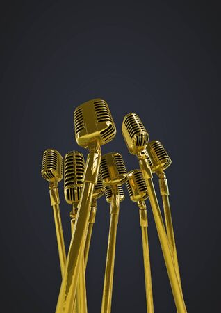 remix: Retro gold microphones  3D render of group of old fashioned classic microphones